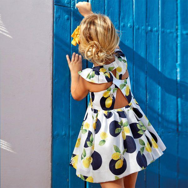 Šaty s citrónmi, volánovými rukávmi a prekríženým chrbátom Mayoral | Welcomebaby.sk