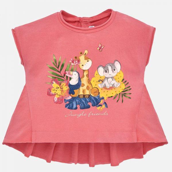 Bavlnené tričko Mayoral s motívom zvieratiek ruzove | Welcomebaby.sk