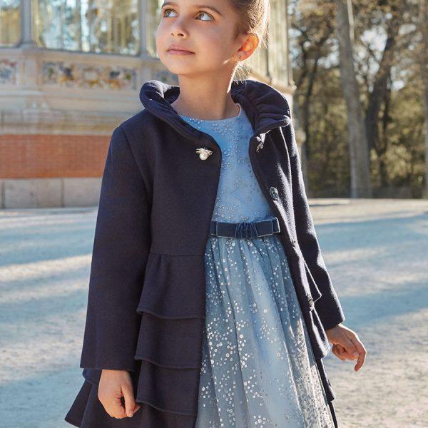 Dievčenský vlnený kabát s volánmi | Welcomebaby.sk