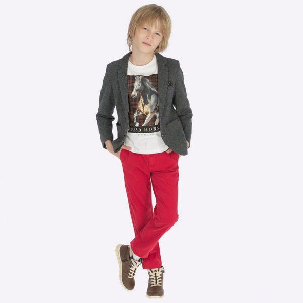 Chlapčenské nohavice s vreckami Chino Slim Mayoral červené | Welcomebaby.sk