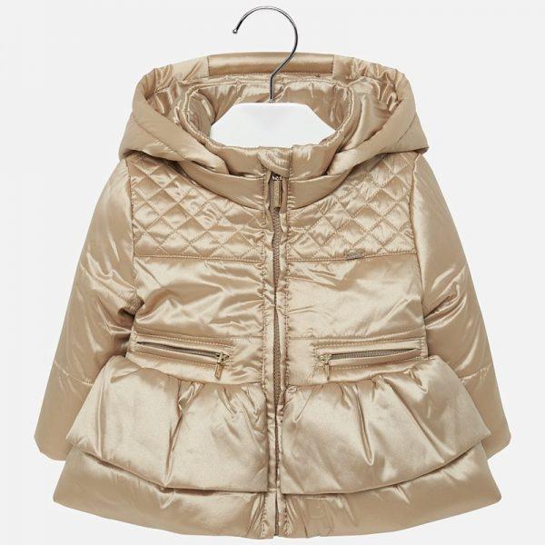 Dievčenská bunda s volánom a kapucňou Mayoral zlatá | Welcomebaby.sk