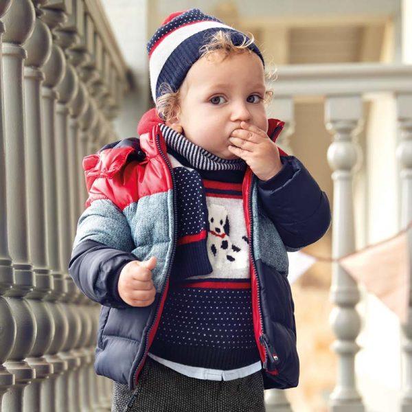 Chlapčenská trojfarebná bunda s kapucňou Mayoral modrá | Welcomebaby.sk