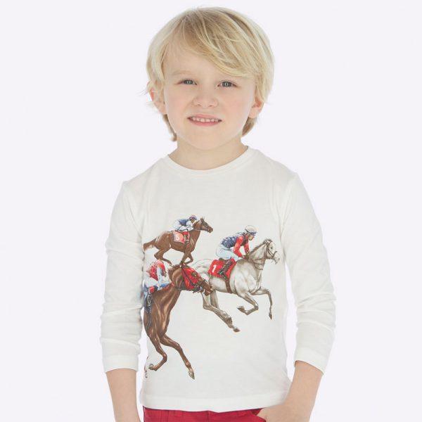 Chlapčenské tričko s potlačou dostihové kone Mayoral | Welcomebaby.sk
