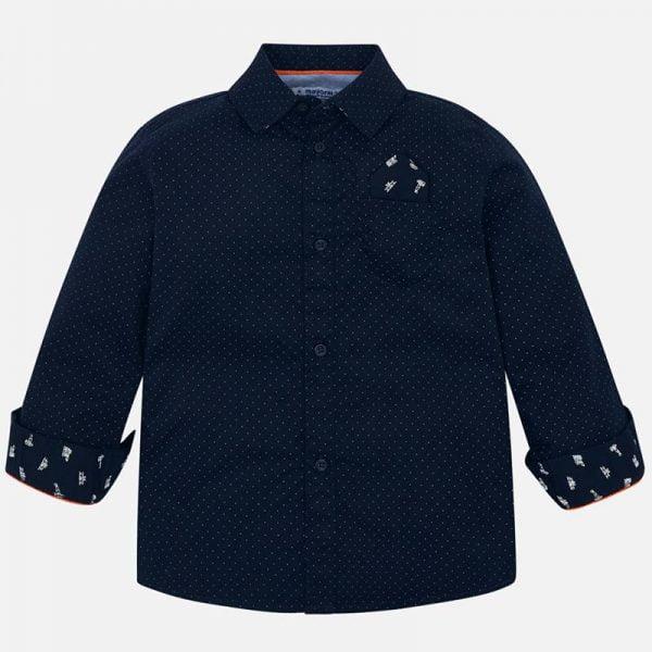 Chlapčenská košeľa s mini bielymi bodkami Mayoral modrá | Welcomebaby.sk