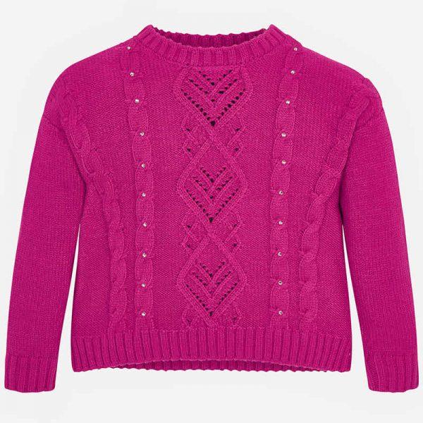 Dievčenský pletený sveter s malým stojačikom Mayoral malinový | Welcomebaby.sk