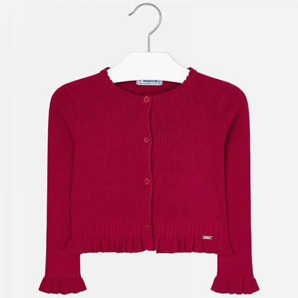 Dievčenský sveter s volánom Mayoral červený | Welcomebaby.sk