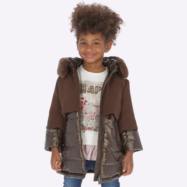 Dievčenská kombinovaná bunda s kapucňou a vnútri s kožušinou Mayoral hnedá | Welcomebaby.sk