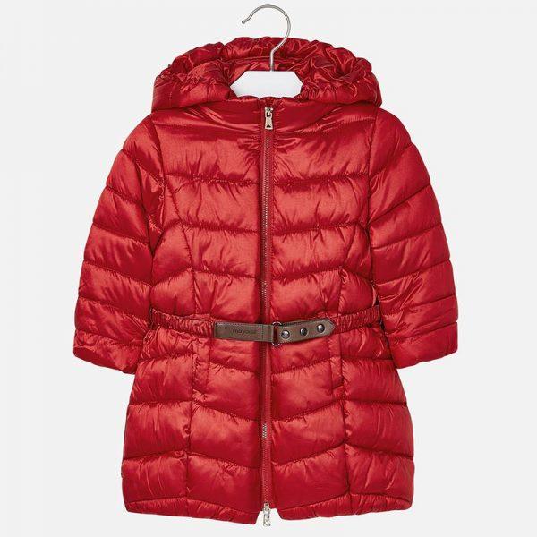 Dievčenská predĺžená bunda s kapucňou Mayoral červená | Welcomebaby.sk