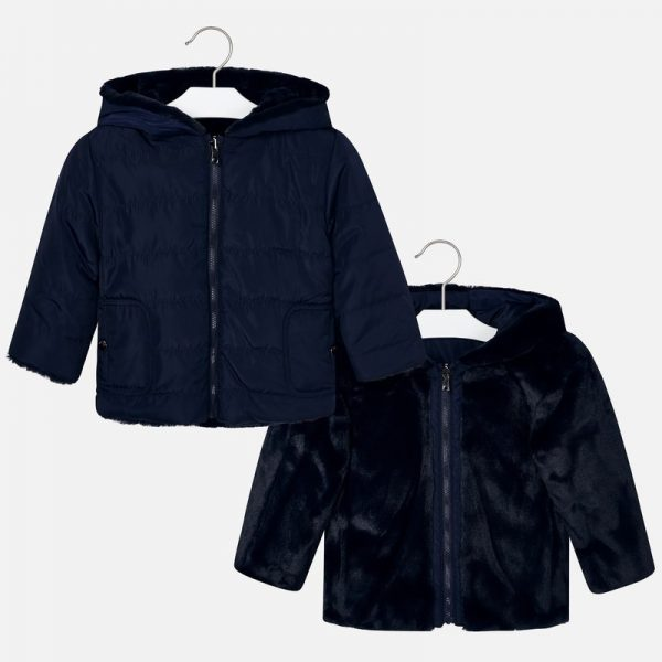 Dievčenská bunda s kapucňou a kožušinou Mayoral modrá | Welcomebaby.sk