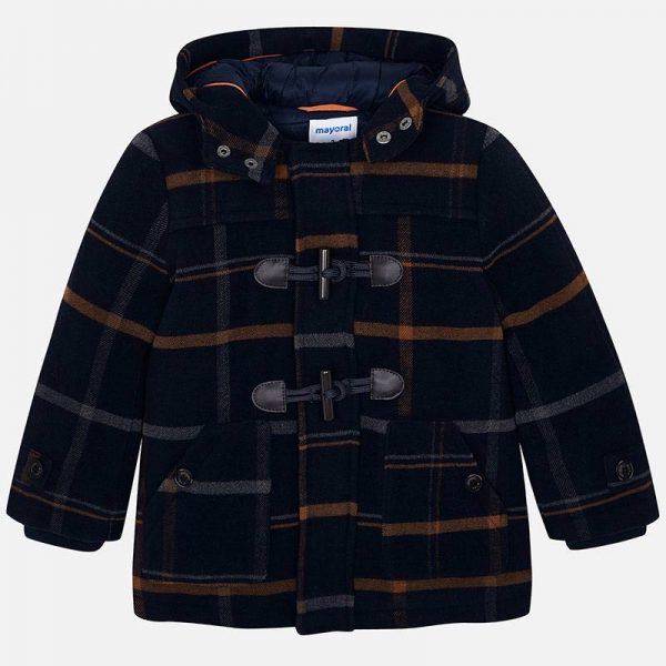Chlapčenský károvaný kabát s kapucňou Mayoral modrý | Welcomebaby.sk