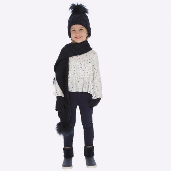 Dievčenské teplákové nohavice so strieborným pásikom Mayoral tmavomodré | Welcomebaby.sk