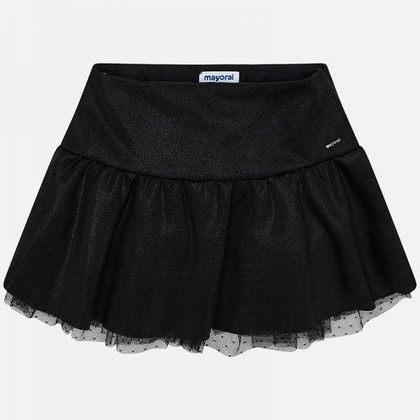 Lesklá sukňa so širokým pásom a tylom Mayoral čierna | Welcomebaby.sk
