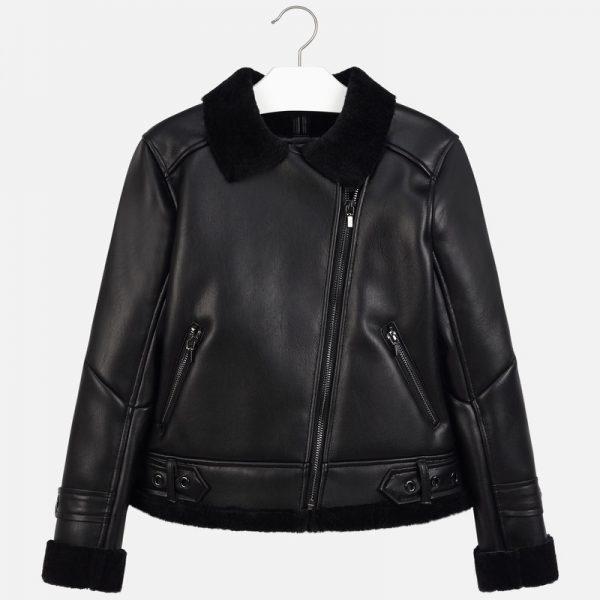 Dievčenská koženková bunda vnútri s kožušinou, kožušinovým golierom Mayoral čierna | Welcomebaby.sk