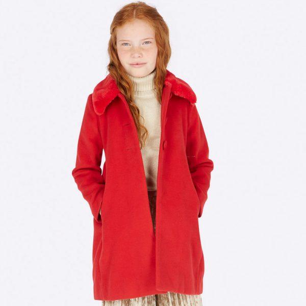 Dievčenský kabát s kožušinovým golierom Mayoral červený | Welcomebaby.sk