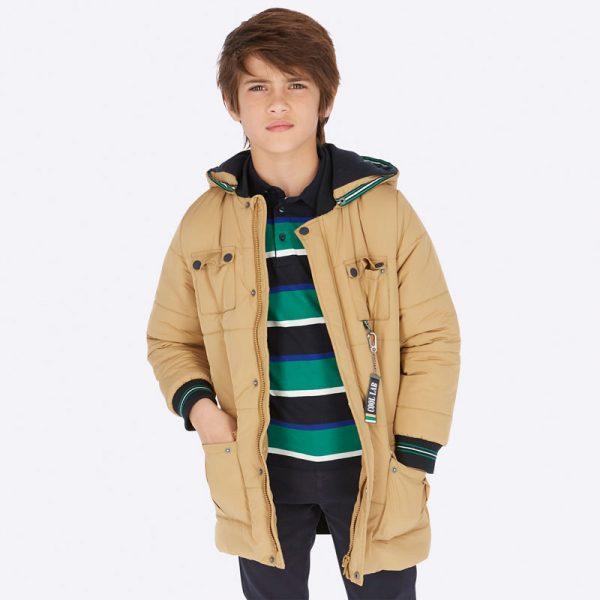 Chlapčenská predĺžená bunda s odopínateľnou kapucňou a vreckom na chrbáte Mayoral hnedá | Welcomebaby.sk