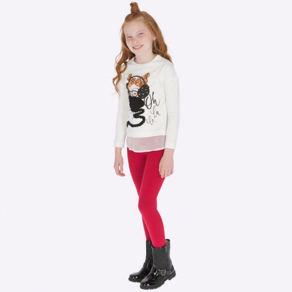 Dievčenský legínový set dievča so slúchadlami Mayoral červený
