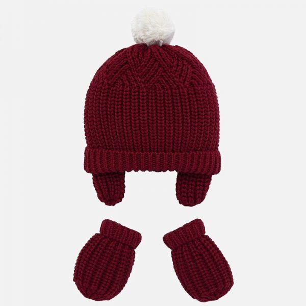 Dievčenská čiapka a rukavice Mayoral bordová | Welcomebaby.sk