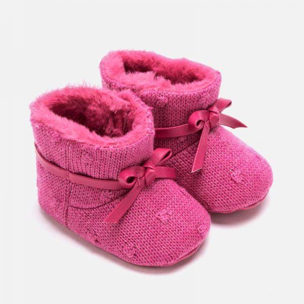 Pletené topánky s mašľou, gumenou podrážkou pre dievčatá Newborn Mayoral ružové   Welcomebaby.sk