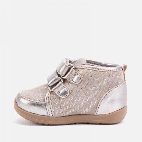 Dievčenské topánky na suchý zips Mayoral strieborné | Welcomebaby.sk