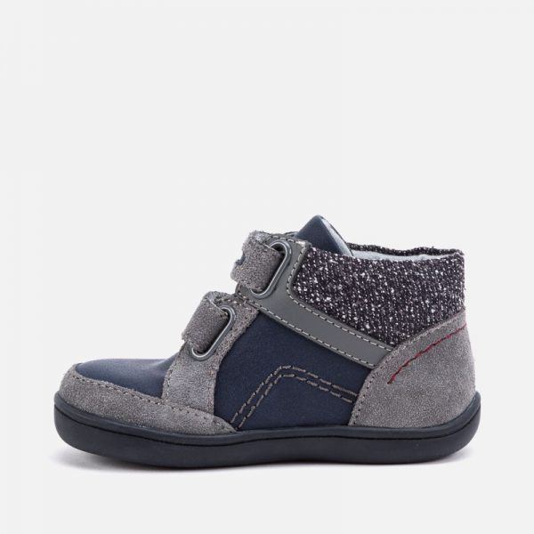 Chlapčenské kožené topánky na suchý zips Mayoral šedomodré | Welcomebaby.sk