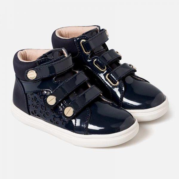 Dievčenské kožené lakované topánky na zips Mayoral modré | Welcomebaby.sk