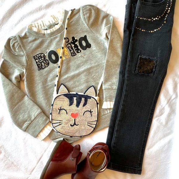 Dievčenská mikina s nápisom Bonita Mayoral sivá | Welcomebaby.sk