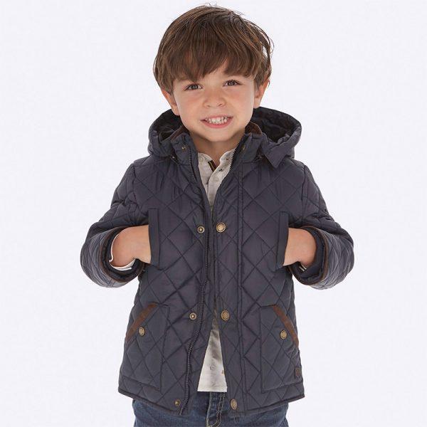 Chlapčenská prešívaná bunda s kapucňou Mayoral modrá | Welcomebaby.sk