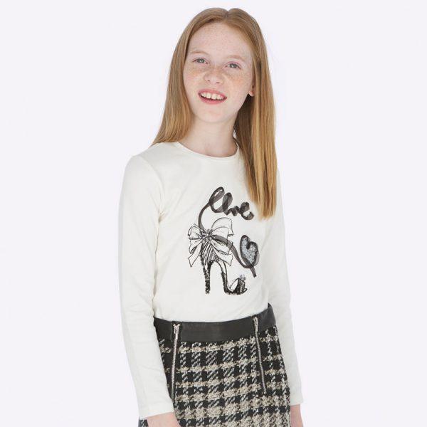Dievčenské bavlnené tričko s potlačou lodičky a nápisom Love Mayoral biele | Welcomebaby.sk