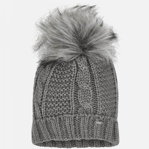 Dievčenská pletená čiapka s brmbolcom Mayoral sivá | Welcomebaby.sk