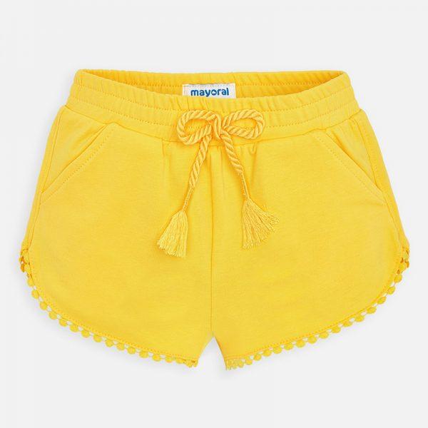 Dievčenské bavlnené kraťasy s guličkami Mayoral žlté | Welcomebaby.sk