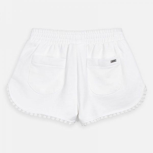 Dievčenské bavlnené šortky s guličkami Mayoral biele | Welcomebaby.sk