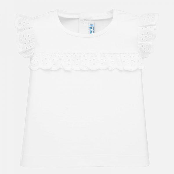 Dievčenské tričko s volánovými rukávmi a volánom v strede trička Mayoral biele | Welcomebaby.sk