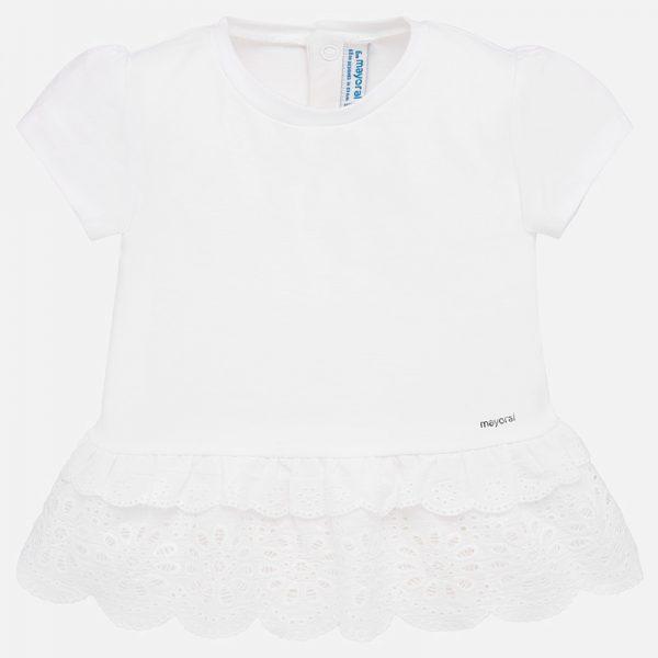 Dievčenské tričko s vyšívaným volánom Mayoral biele | Welcomebaby.sk