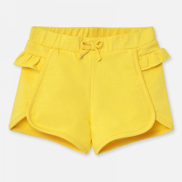 Dievčenské bavlnené kraťasy s volánom Mayoral žlté | Welcomebaby.sk