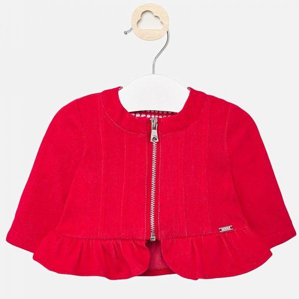 Dievčenská bunda s volánom Mayoral červená | Welcomebaby.sk