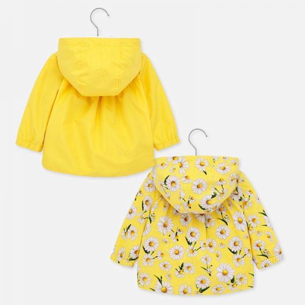 Dievčenská prechodná bunda s kvetmi a kapucňou Mayoral Yellow | Welcomebaby.sk