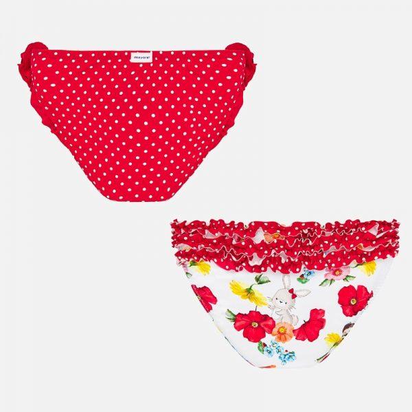 Dievčenské plavkové nohavičky s volánmi, kvetmi a bodkami Mayoral červené | Welcomebaby.sk