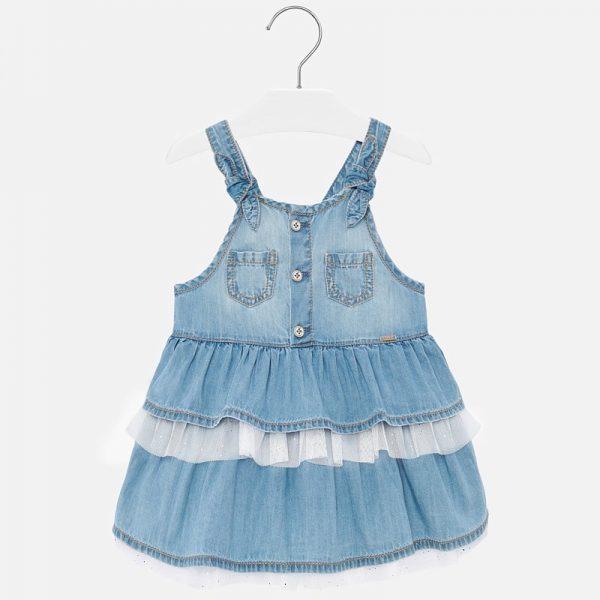 Rifľové šaty s volánmi a tylom Mayoral denim | Welcomebaby.sk