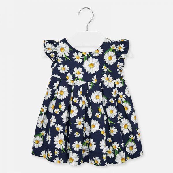 Bavlnené šaty s volánovými rukávmi a kvetmi margarétka Mayoral tmavomodré | Welcomebaby.sk