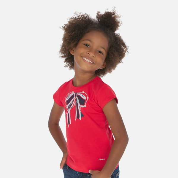 Dievčenské tričko s mašľou Mayoral červené | Welcomebaby.sk