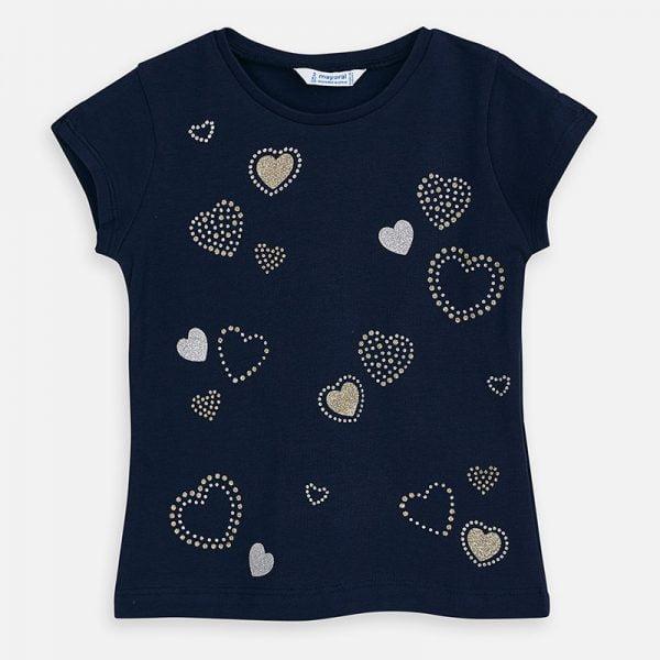 Dievčenské tričko so srdiečkami Mayoral Hearts modré | Welcomebaby.sk