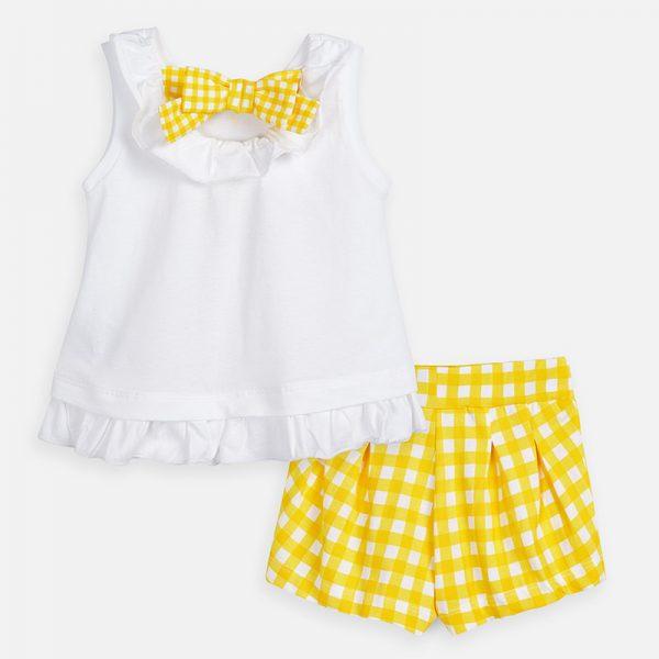 Dievčenský kockovaný kraťasový set s tričkom s volánom Mayoral žltý | Welcomebaby.sk