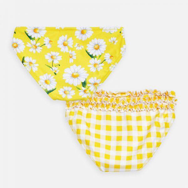 Plavkové nohavičky s kvetmi a kockami Mayoral žlté | Welcomebaby.sk