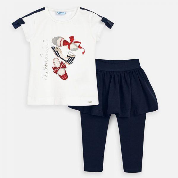 Legíny so sukňou a tričko s potlačou topánky modré | Welcomebaby.sk