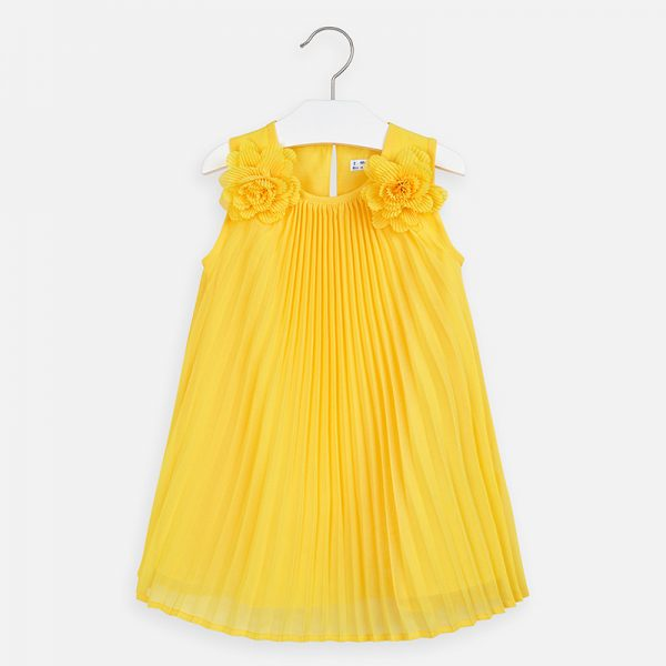 Padavé šaty na ramenách s kvetmi Mayoral žlté | Welcomebaby.sk