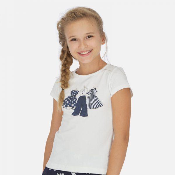 Dievčenské tričko s potlačou oblečenia na vešiakoch Mayoral biele/modré | Welcomebaby.sk
