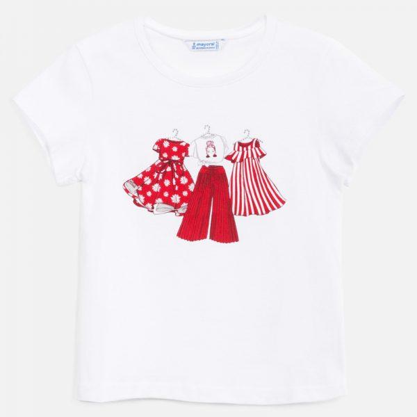 Dievčenské tričko s potlačou oblečenia na vešiakoch Mayoral biele/červené | Welcomebaby.sk