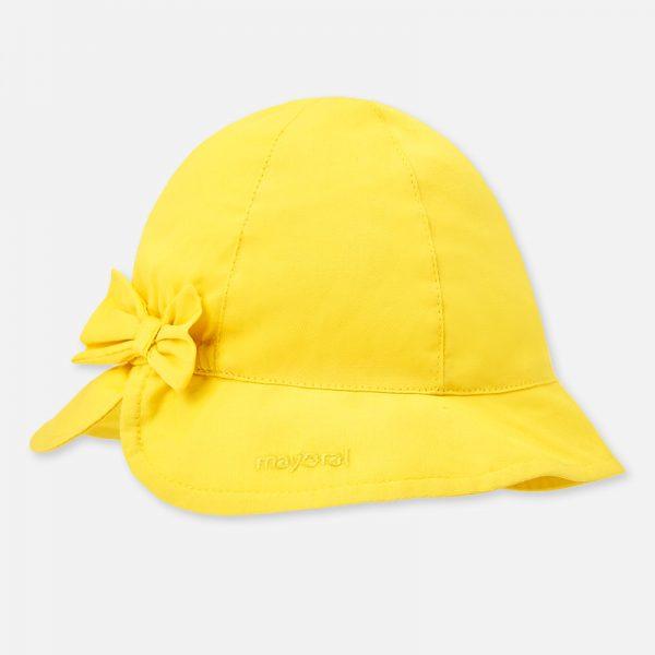 Dievčenský bavlnený klobúčik s mašľou Mayoral žltý | Welcomebaby.sk