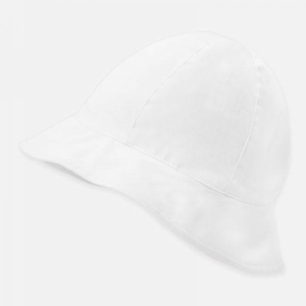 Dievčenský bavlnený klobúčik s mašľou Mayoral biely | Welcomebaby.sk