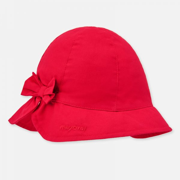 Dievčenský bavlnený klobúčik s mašľou Mayoral červený | Welcomebaby.sk